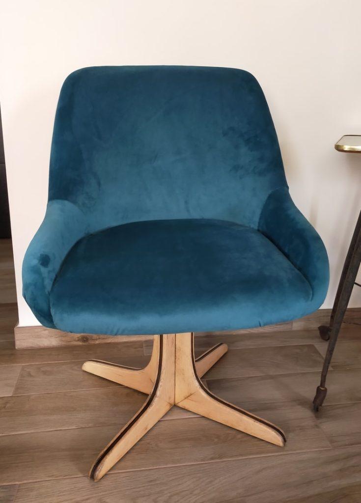 fauteuil pivotant 60's restauré Angers