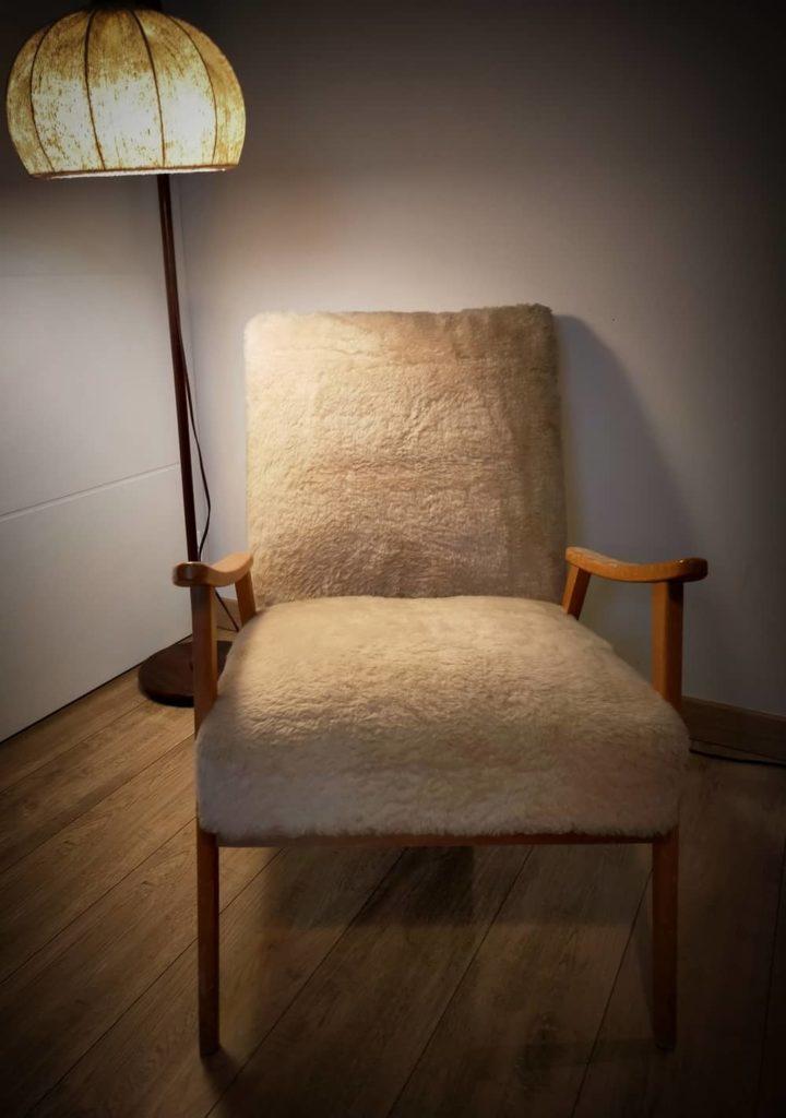 fauteuil scandinave Trudi à restaurer Angers